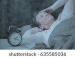 senior woman having sleep... | Shutterstock . vector #635585036