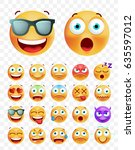 set of cute emoticons on white... | Shutterstock .eps vector #635597012