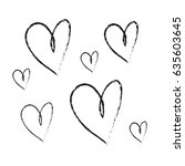 hand drawn ink hearts seamless... | Shutterstock .eps vector #635603645