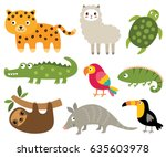 south american animals vector... | Shutterstock .eps vector #635603978
