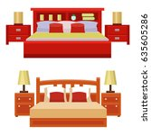 vector bed icon set interior... | Shutterstock .eps vector #635605286