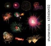 fireworks collection on dark... | Shutterstock . vector #635606432