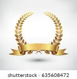 vector gold laurel wreath... | Shutterstock .eps vector #635608472