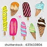 big set of cute cartoon hand...   Shutterstock .eps vector #635610806