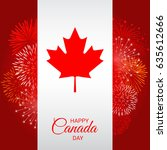 canada flag with fireworks for... | Shutterstock .eps vector #635612666