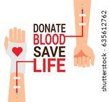 hand of blood donor with... | Shutterstock .eps vector #635612762
