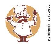 happy cartoon chef  vector... | Shutterstock .eps vector #635619632