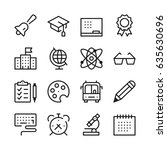 school and education line icons ... | Shutterstock .eps vector #635630696