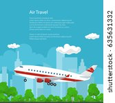 airplane on the background of... | Shutterstock .eps vector #635631332