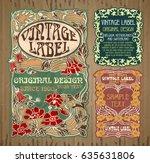 vector vintage items  label art ... | Shutterstock .eps vector #635631806