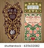 vector vintage items  label art ... | Shutterstock .eps vector #635632082
