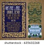 vector vintage items  label art ... | Shutterstock .eps vector #635632268