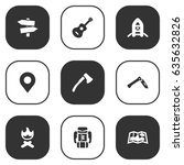 set of 9 outdoor icons set...