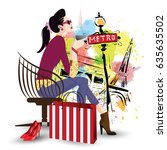 the fashionable girl in style... | Shutterstock .eps vector #635635502