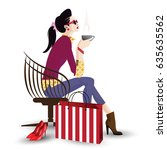 the fashionable girl in style... | Shutterstock .eps vector #635635562