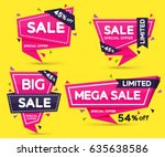 set of pink colored stickers... | Shutterstock .eps vector #635638586