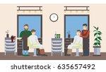 barbershop salon inside. male... | Shutterstock .eps vector #635657492