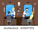 barbershop salon inside. male... | Shutterstock .eps vector #635657552