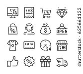 shopping line icons set. modern ... | Shutterstock .eps vector #635661122