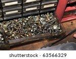 Screws drawer - stock photo