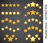 collection of golden five star... | Shutterstock . vector #635667356