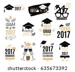 graduation class of 2017 labels ... | Shutterstock .eps vector #635673392
