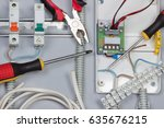 installation of electrical... | Shutterstock . vector #635676215