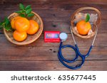 vitamin c form oranges and... | Shutterstock . vector #635677445