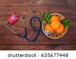 vitamin c form oranges and... | Shutterstock . vector #635677448