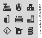 town icons set. set of 9 town... | Shutterstock .eps vector #635678456