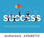 cartoon working little people... | Shutterstock .eps vector #635680715