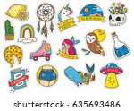 set of fashion cute patches... | Shutterstock .eps vector #635693486