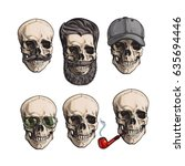 set of human skull bones with... | Shutterstock .eps vector #635694446