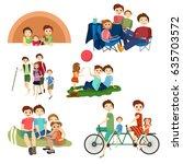 vector flat icons set of family ... | Shutterstock .eps vector #635703572