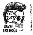 hand drawn punk rock skull with ... | Shutterstock .eps vector #635706005