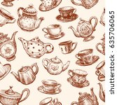 pattern of cups and teapots | Shutterstock .eps vector #635706065