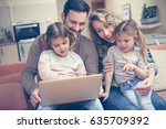 happy family spending time at... | Shutterstock . vector #635709392