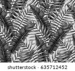 watercolor tropical palm leaves ... | Shutterstock . vector #635712452