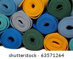 many colorfull yoga mats as a... | Shutterstock . vector #63571264