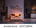 white and grey living room with ... | Shutterstock . vector #635718806