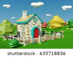 cartoon house with countryside...   Shutterstock . vector #635718836
