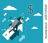 businessman rocket ride is...   Shutterstock .eps vector #635719265