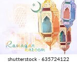 ramadan kareem greeting  ... | Shutterstock . vector #635724122