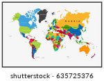 flat designs world map with... | Shutterstock .eps vector #635725376