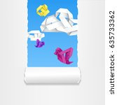 colorful birds and clouds in... | Shutterstock .eps vector #635733362