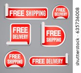 free shipping and free delivery ... | Shutterstock .eps vector #635736008