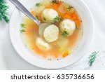 delicious matzoh ball soup... | Shutterstock . vector #635736656