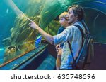 father and son look at the fish ...   Shutterstock . vector #635748596