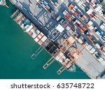 container vessel ship stay in... | Shutterstock . vector #635748722