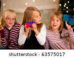 three girls in front of a... | Shutterstock . vector #63575017